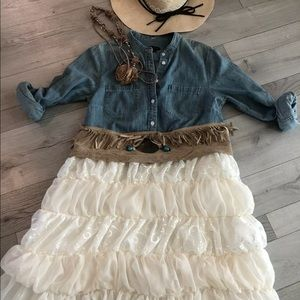 Dresses & Skirts - Handmade Denim&tulle Cowgirl Wedding Dress L